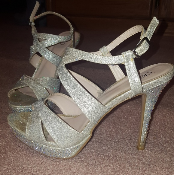 947ce9bc749 Silver sparkly prom heels